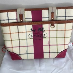 Gently Used-Coach Heritage Stripe Tattersall